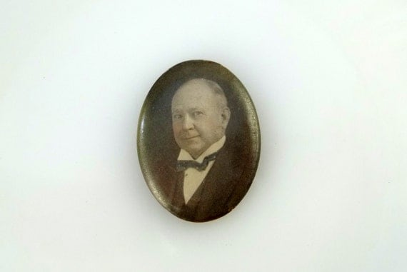 Antique Victorian Pinback Sepia Photo Mourning Brooch