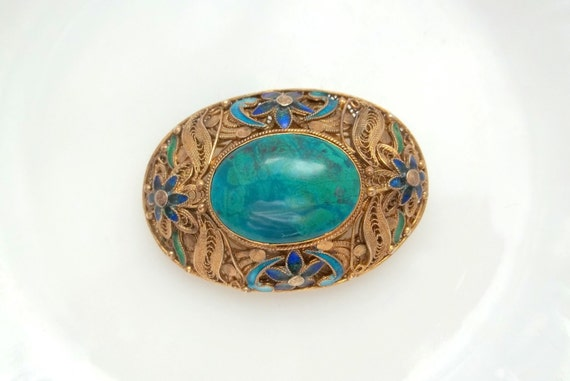 Antique Chinese Export Sterling SILVER Filigree S925 Vermeil Lapis Cabochon