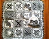 Grey and White Elephant Baby Blanket Set