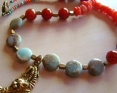 Tiger Beaded Necklace // Stone and Brass Statement Jewelry // Blue Red and Orange - BJ0003