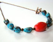 Stone choker, beaded necklace, turquoise and coral with copper lizard clasp