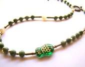 Beaded Fish Choker // Green Glass Bead Choker // Mother of Pearl and Brass // Boho Jewelry // Boho Chic // Bohemian Necklace - BJ0033