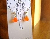 Orange gemstone earrings with sterling silver