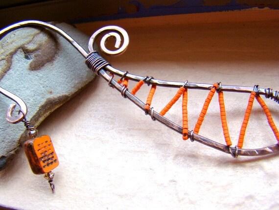 Rustic bookmark in tangerine - beaded metalwork artisan made gift