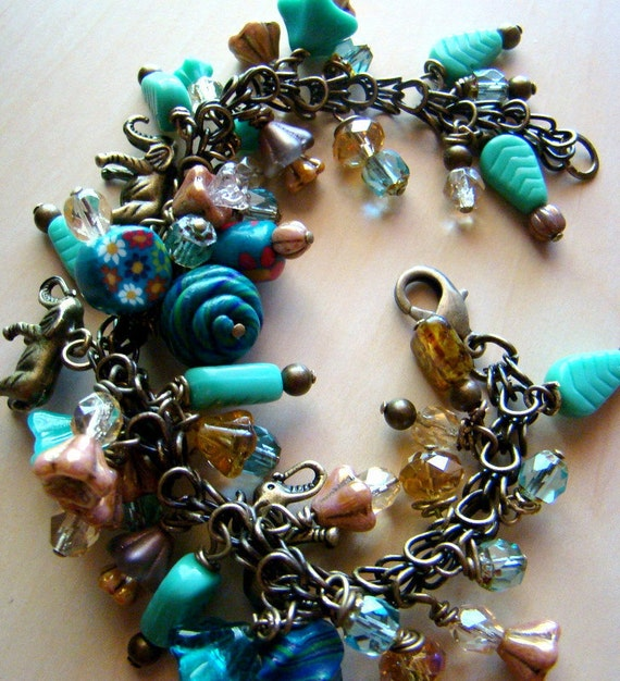 Turquoise Flowers Bronze Charm Bracelet, Cluster Bracelet, Blue and Gold Glass Beaded Bracelet, Elephant Bead Bracelet Shabby Chic - BJ0039