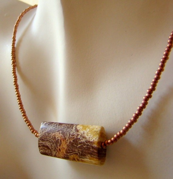 Choker necklace in caramel and cream - picture jasper focal stone with soft copper seed beads