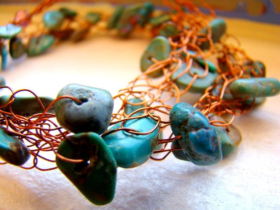 Crocheted wire necklace // Green turquoise gemstones // Stone beads on amber wire