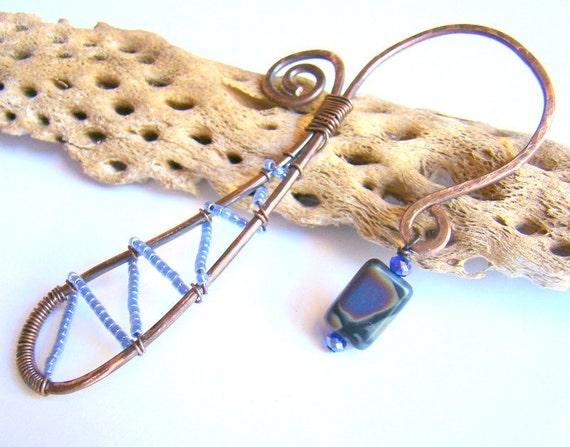 Beaded metal bookmark in blue - rustic artisan made gift