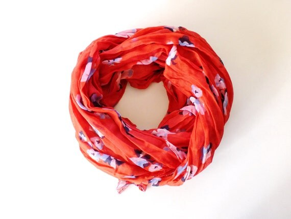 Red/Tangerine Floral Scarf - by Studio H. Boutique