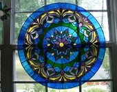 Large Blue Mediallion Stained Glass Panel