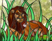 King of the Jungle Stained Glass Resting Lion