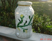 Stained Glass Mosaic from a Repurposed Jar in Abstract Vines and Flower