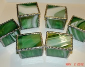 Set of Six - Bridal Party Gift Set in 3 variety sizes in Bright White and Periot Green Stained Glass Boxes