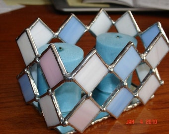 Modern Designed Stained Glass Candle Holder