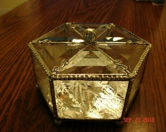 Stained Glass Beveled Triangled Hinged Box