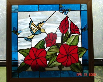 Bird & Hibiscus Stained Glass Panel