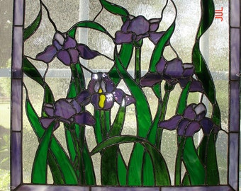 Iris Stained Glass Panel