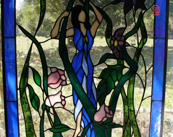 Mother Nature Stained Glass Panel