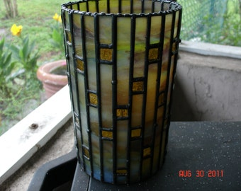Picture Window Vase or Candle Holder in Stained Glass