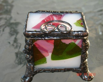 Tiny Footed Stained Glass Ring Box