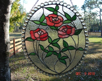 Large Pink Rose Stained Glass Oval Cameo with double glue chip clear glass