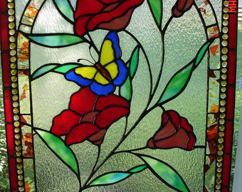 Fire Red & Peach Flowers with a Gentle Butterfly Stained Glass Panel