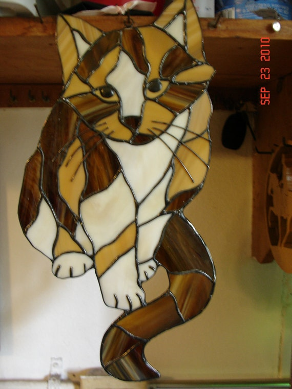"""Calico Cat Stained Glass Picture """"Callie"""""""