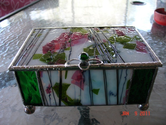 Custom Stained Glass Jewelry Box with dividers Pink/green flowers and green accent / classic style