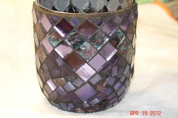 Stained Glass Mosaic Candle Holder in Van Gohn & Shades of Purple