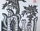 Garter Snakes in Springtime - Lino Block Print Reptile Art