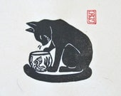 Hello My Friend - Black Cat and Fish Lino Block Print