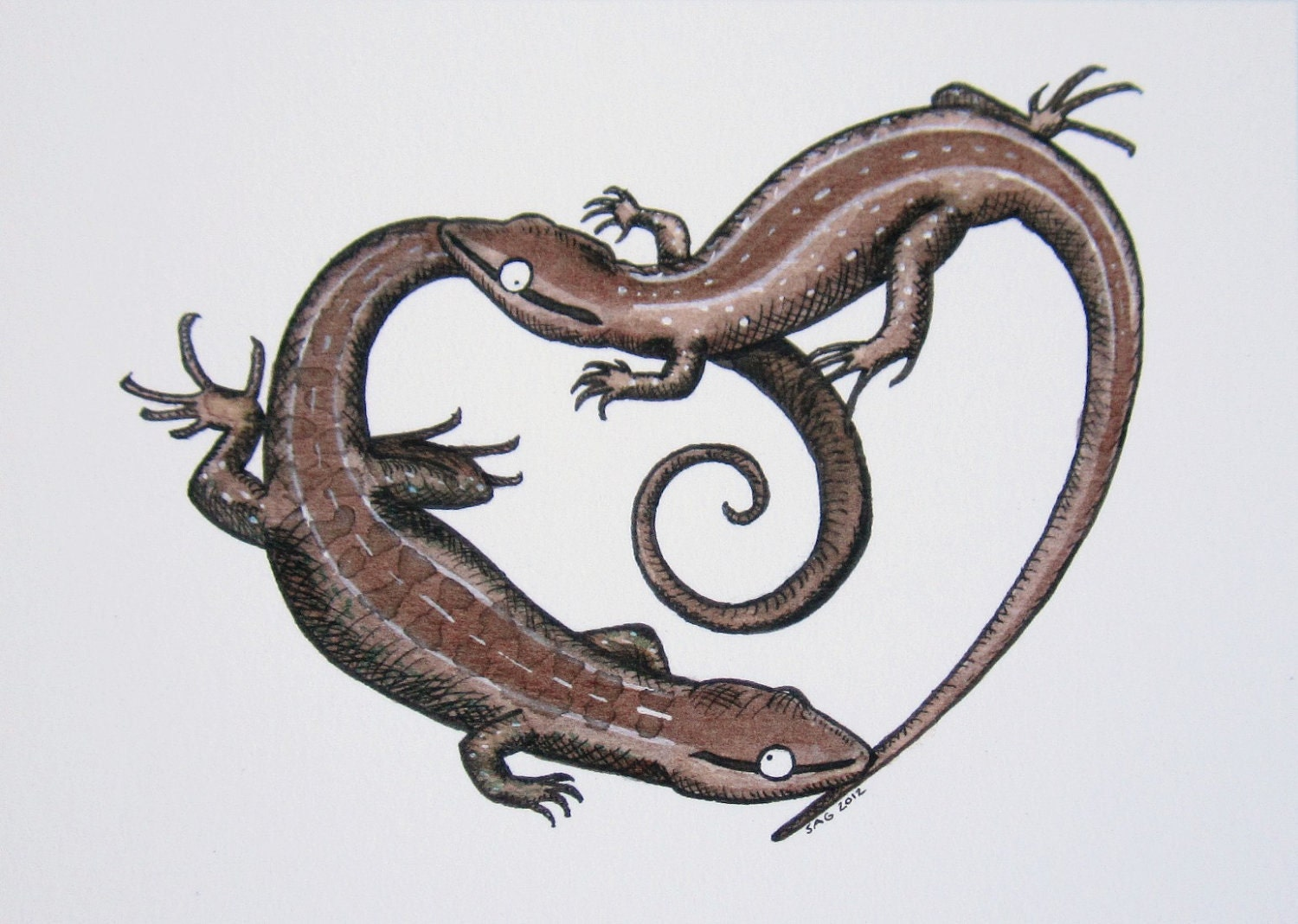 aceo courting lizards archival print of original ink drawing