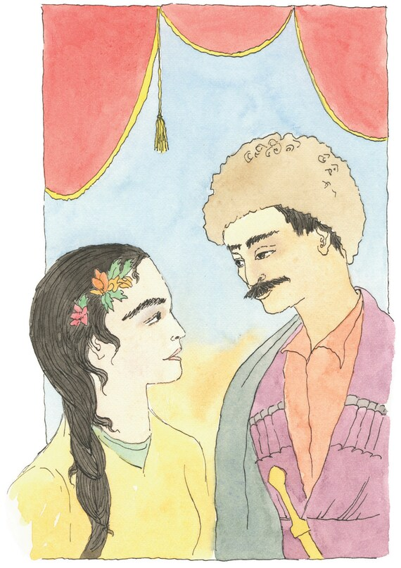 Watercolor illustration/ lovers painting/lovers gift