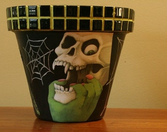 Halloween Skeleton Pot