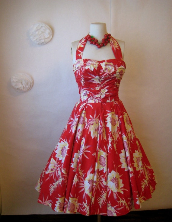 r e s e r v e d. hawaiian dress. 1950s dress. vintage 50s red floral halter dress.