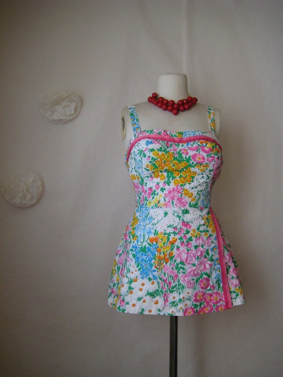vintage romper playsuit. vera floral swimsuit. 50s 60s pin up girl mini dress.