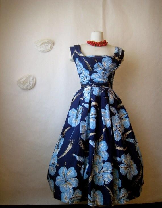 r e s e r v e d. alfred shaheen dress. vintage 1950s dress. designer hawaiian hand painted tropical hibiscus.