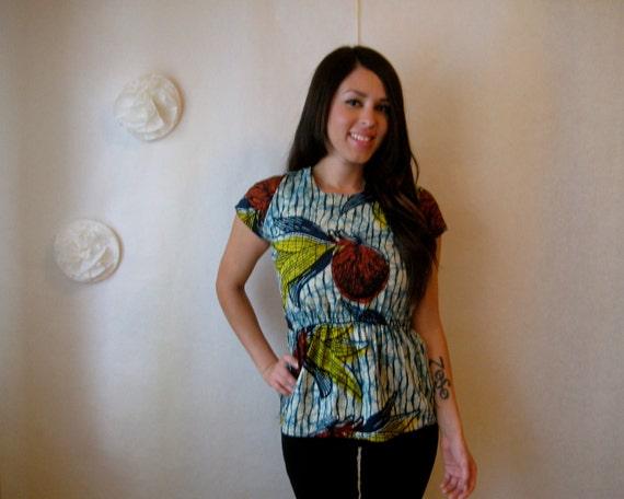 vintage batik blouse. tribal 1970s african wax print ethnic caftan tunic top.