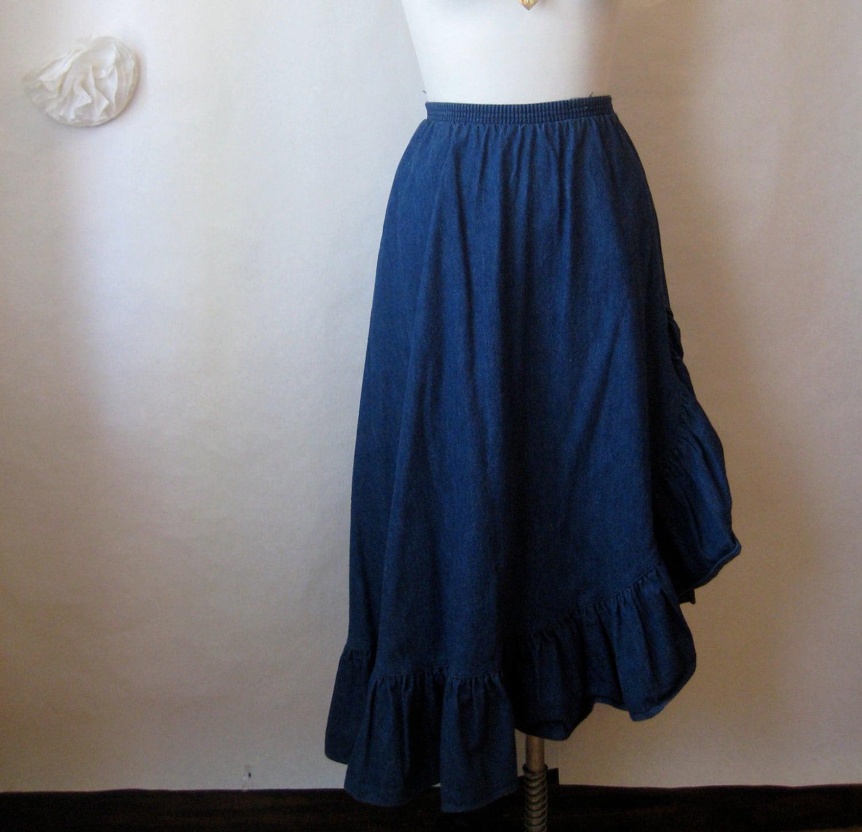 1970s jean skirt vintage high waisted skirt ruffle
