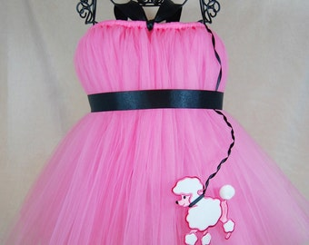 Retro Pink Poodle Skirt Tutu Dress by Atutudes | Retro Tutu | Retro Dress | Rockabilly Tutu | Rockabilly Dress for Kids | Retro Skirt