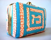 Clutch Patchwork Coral N2 - Completely handmade and homemade