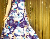 Vintage 70s Dress, Maxi Dress, Boho, Hippie, Flowers, Purple, White