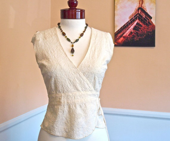 Vintage Wrap Blouse,Cotton Eyelet, Lace Embroidered Blouse Vest