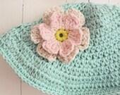 Organic Light Aqua Floppy Summer Sun Hat With Flower