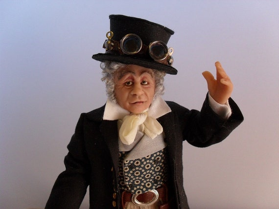 Sir Steampunk - a quirky steampunk old victorian gentleman - 12th scale dollhouse miniature figure by Jo Med