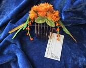 Floral comb, orange