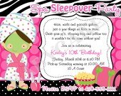 Spa Sleepover Party Birthday Invitation - DIY Print Your Own - Choose your girl - Matching Party Printables Available