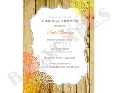 Rustic Wedding Bridal Shower Invitation - DIY Print Your Own