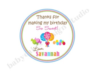 Sweet Shoppe Favor Thank You Tags Candyland Birthday - DIY PARTY PRINTABLES