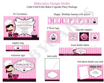 Cupcake Decorating Party Birthday Invitation and Party Package - DIY Print Your Own Choose your girl